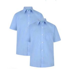 Boys Blue  Short Sleeve Non-Iron Twin-Pack Shirts