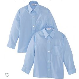 Boys Blue Long Sleeve Non-Iron  Twin-pack Shirts