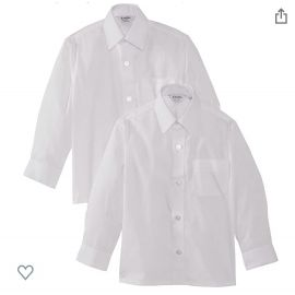 Boys White Long Sleeve Non-Iron Twin-pack Shirts