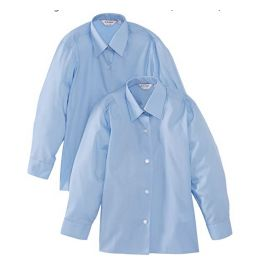 Girls Blue Long Sleeve Non-Iron - Twin-Pack Blouses